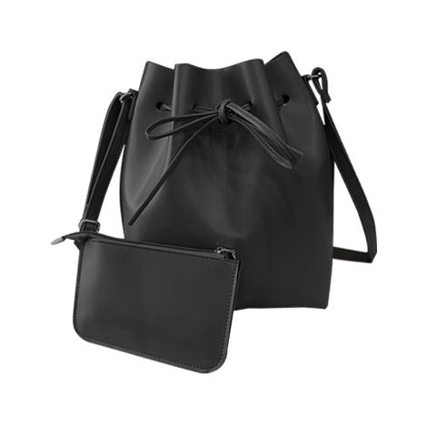Korean Style Drawstring Barrel Buns 2 pc Bucket Shoulder Bag (DBB122-2)