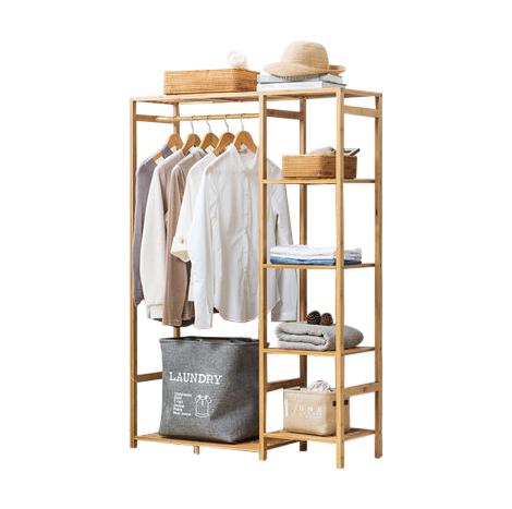Modern Bedroom Solid Wood Bamboo Hanger 92x 132cm Cabinet Wardrobe Closet Coat Rack (YZSJ-132)
