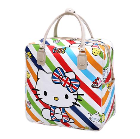 Korean Carton Print PU Waterproof Travel Hand Luggage Bag (KT7631)