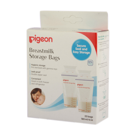 PIGEON Breast Milk Storage Bags - 180ml Bags 25s