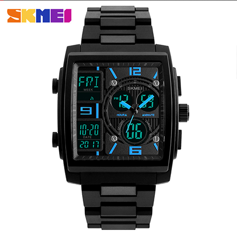 SKMEI Chronograph Multi-function Digital 50m Depth Waterproof Three-dial Men's Watch (1274)