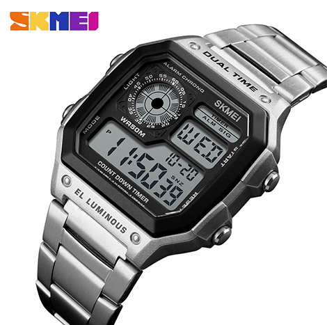 SKMEI Luminous Dual Time 50m Depth Waterproof Electronic Digital Sport Men's Watch (1335)