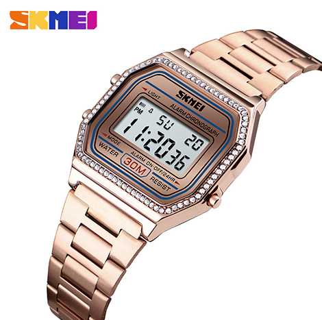 SKMEI Luminious Multi-function Electronic Pave Diamond Women's Watch (1474)