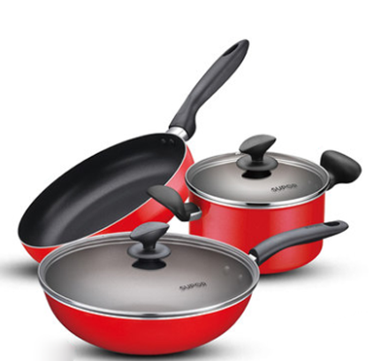 SUPOR Cookware Gas Stove Non-Stick Frying Pan Soup Wok 3 Piece Set (TP1612E)