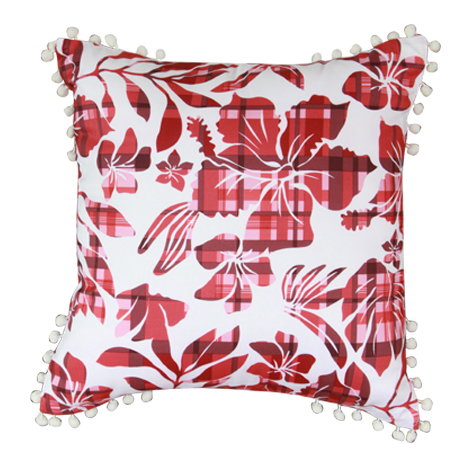 Red Flora Cushion Cover (16''x16'') - 3 Pieces