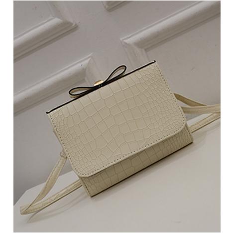 Korean Style Crocodile Pattern Ribbon Bow Handbag (HCRB-589)