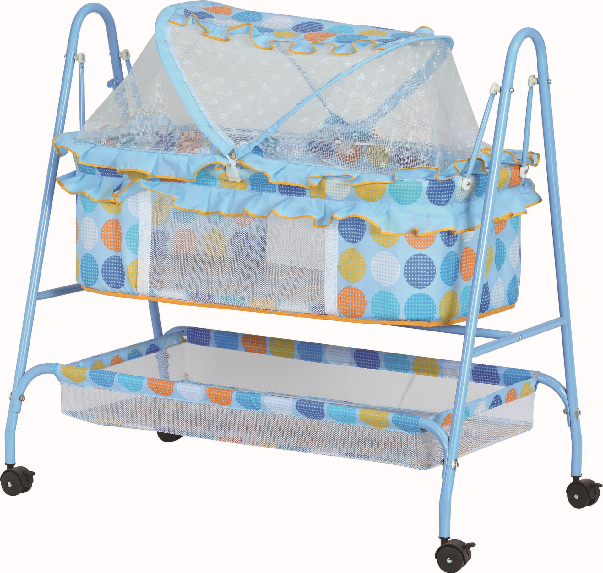 Baby Portable Light weight Shaking Bed Cribs Cradle with Mosquitoes Net Swing with Basket (BB263)