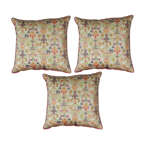 Beige Beauty Cushion Cover (16''x16'') - 3 Pieces