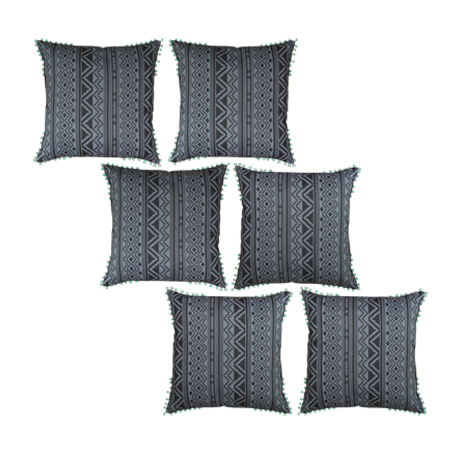 Grey Geometric Cushion Cover (20''x20'') - 6 Pieces