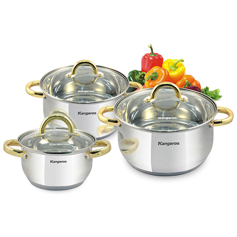 KANGAROO Induction Cookware Set (3 Pots) ( KG864 )