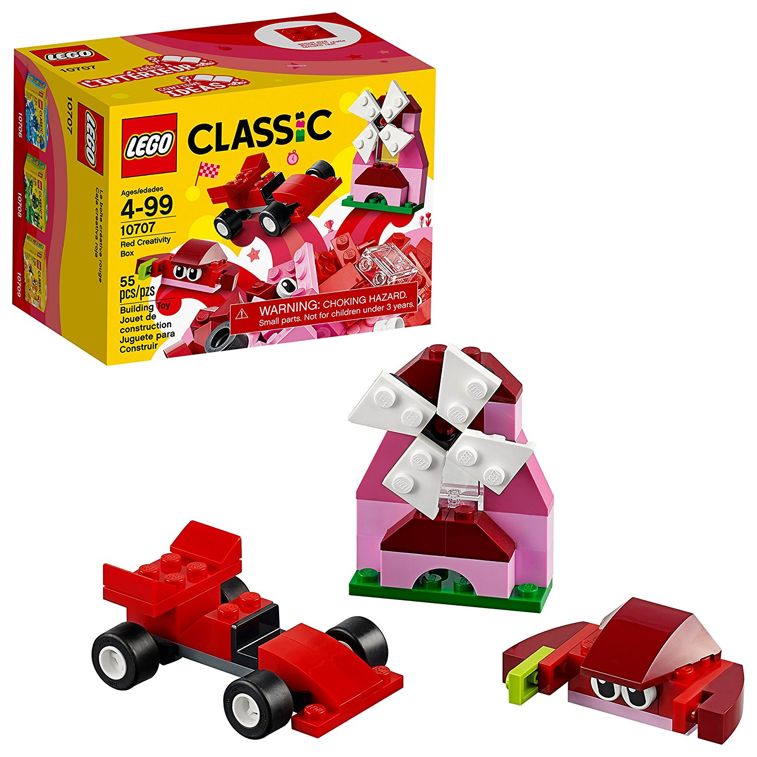 LEGO CLASSIC RED CREATIVE BOX BUILDING TOY 55PCS/PZS (4-99 AGE/EDADES) 10707