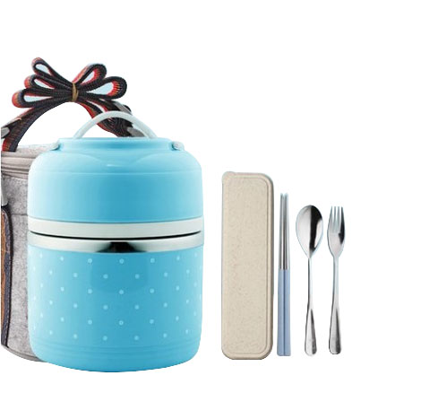 WORTHBUY Stainless Steel Double-layer (250+1000ML) Capacity Lunch Box (A30076)