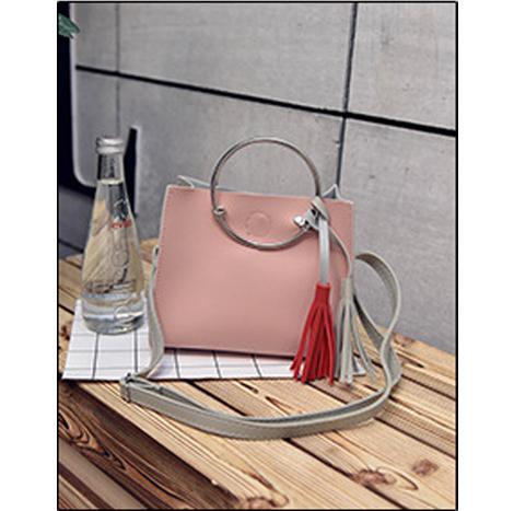 Korean Bi-color Tassel Circular Ring Handle Sling Bag (2 PC set) (BT8878)