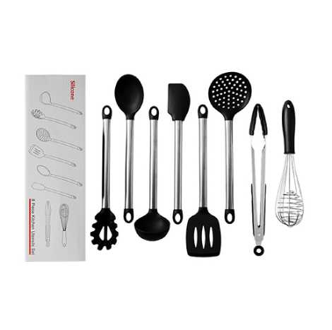 FDA Approved Stainless Steel Handle Silicone Cooking Shovel Spoon Kitchenware 8pc Set (FDABS)