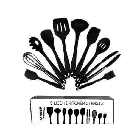 FDA Approved Black Silicone Cooking Shovel Spoon Kitchenware 10PC Set (FDABK)