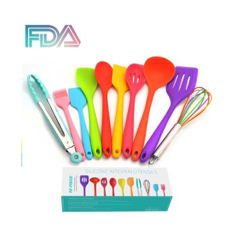 FDA Approved Rainbow Silicone Cooking Shovel Spoon Kitchenware 10pc Set (FDARW)