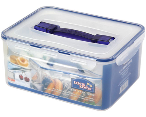 LOCK & LOCK RECTANGULAR TALL CONTAINER W/HANDLE TRAY 6.5L (HPL883)