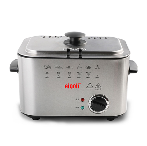 AIGOLI Fryer Household Small Electric Fryer Mini Constant Temperature Fryer French Fries Square Fixed Type (XJ-6K116)