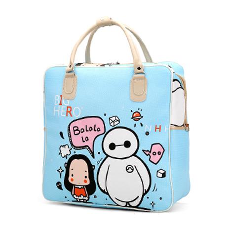 Korean Carton Print PU Waterproof Travel Hand Luggage Bag ( KT-7631 )