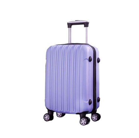 """ABS Classic Striped 360 Universal Wheel Trolley Luggage Suitcase (TSC806 20"""") - Light Purple"""