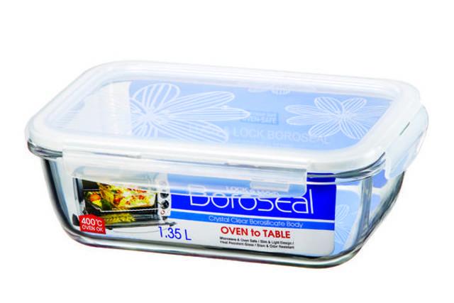LOCK & LOCK Boroseal Heat Resistant Glass Rectangular 1.35L (LLG448)