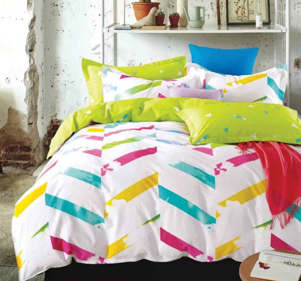 THE GIFT Colourful Stripe In White Bed Sheet Set ( MS 30304 )