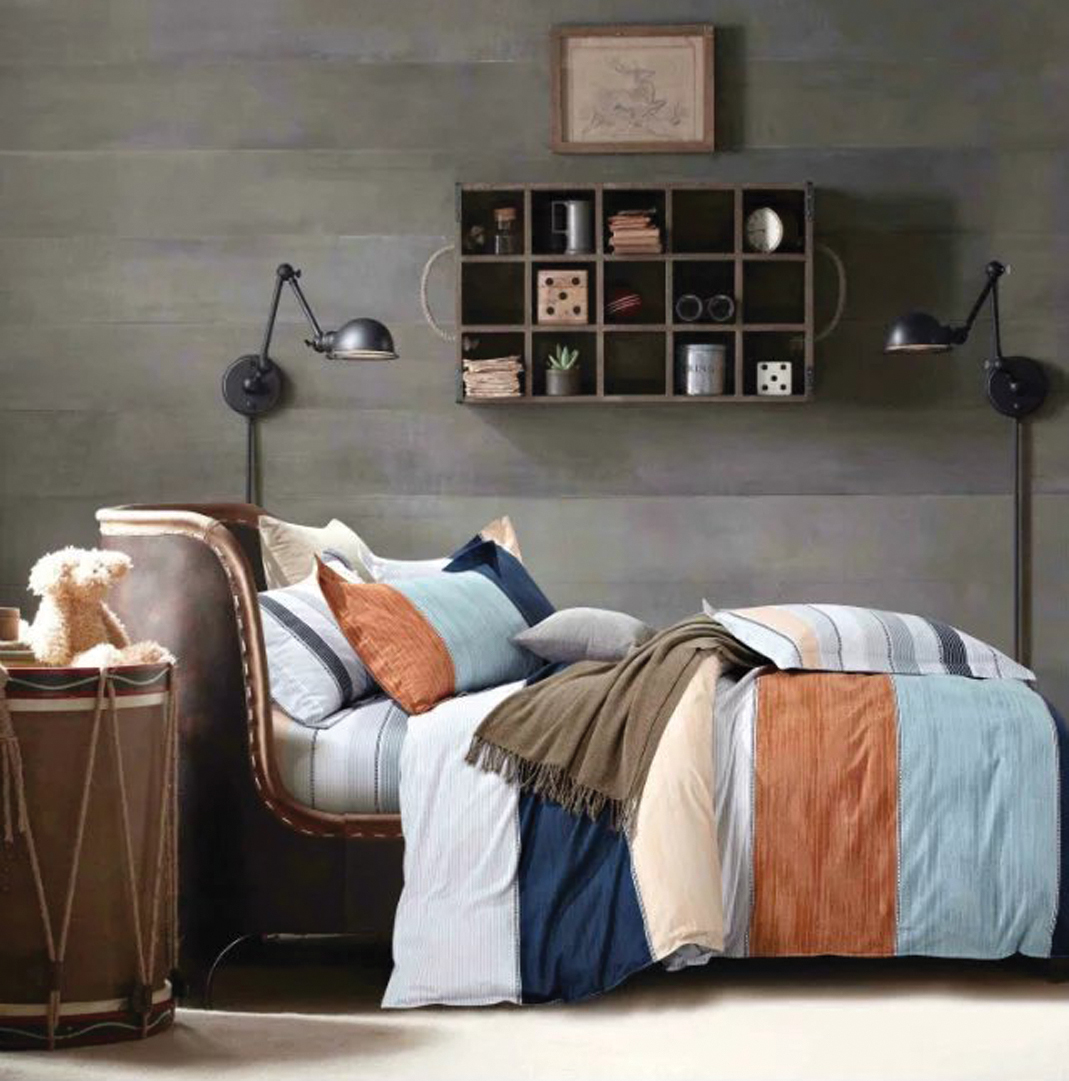 THE GIFT Brown And Blue Layer In White Bed Sheet Set ( MS 30306 )