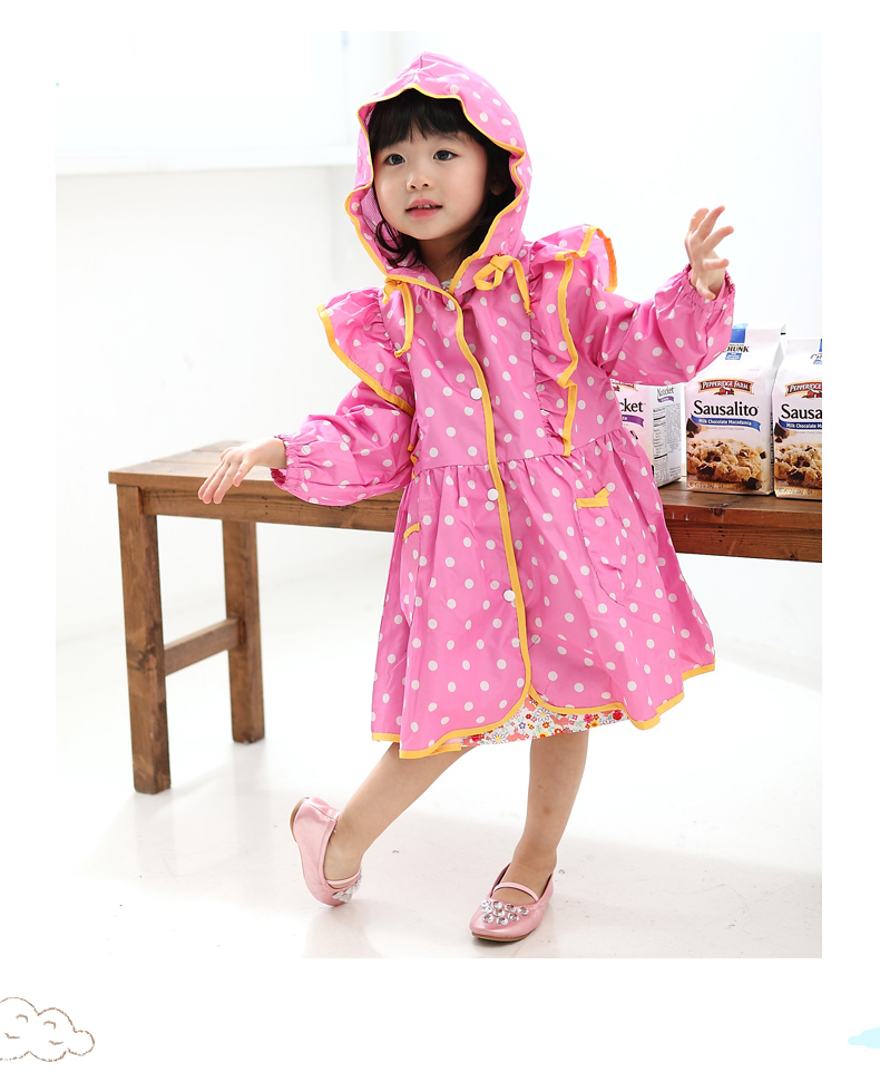 Hot Pink Pokka Dot Raincoat
