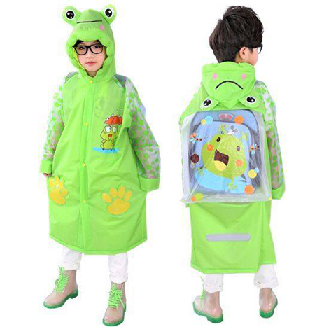 First Place Student Raincoat Special For School Bag (Frog) M - Green