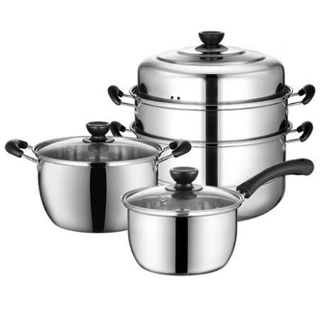 Tiluck Stainless Steel steamer , soup pot ,milk pot combination 3 Piece Set (TZ-U1T4)